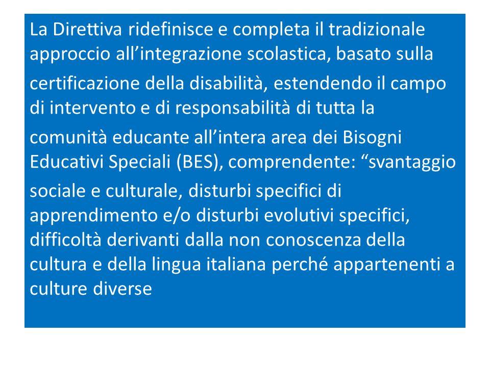 La Direttiva ridefinisce e completa il tradizionale approccio allintegrazione scolastica, basato sulla certificazione della disabilità, estendendo il