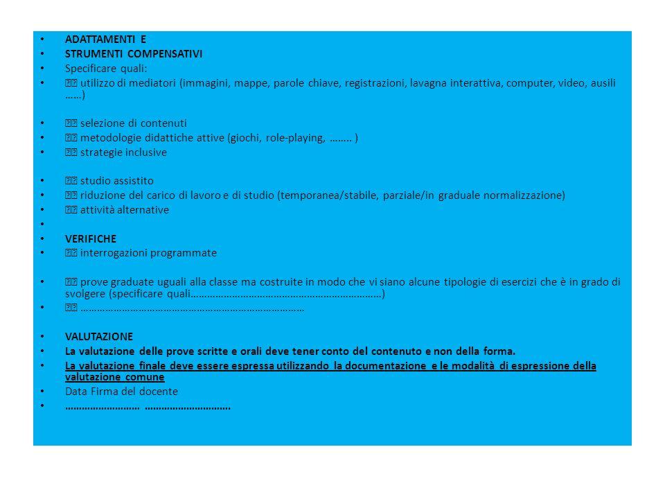 ADATTAMENTI E STRUMENTI COMPENSATIVI Specificare quali: utilizzo di mediatori (immagini, mappe, parole chiave, registrazioni, lavagna interattiva, com