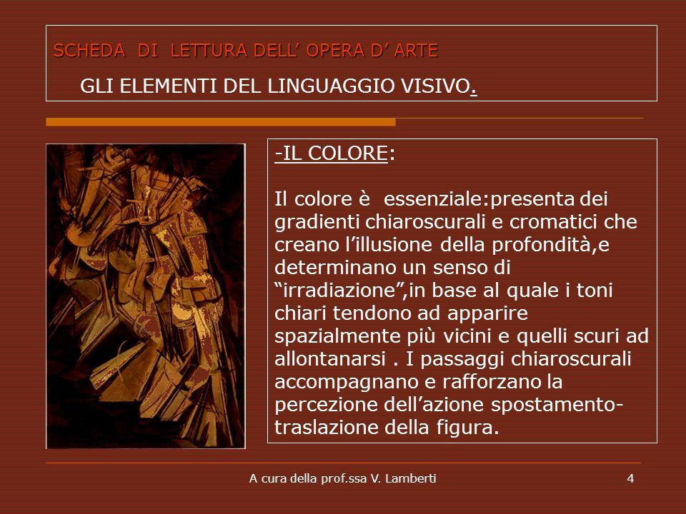 A cura della prof.ssa V. Lamberti4 -IL COLORE: Il colore è essenziale:presenta dei gradienti chiaroscurali e cromatici che creano lillusione della pro