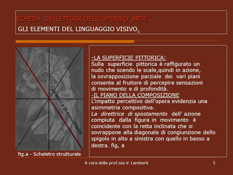 A cura della prof.ssa V. Lamberti5 - LA SUPERFICIE PITTORICA: Sulla superficie pittorica è raffigurato un nudo che scendo le scale,quindi in azione, l