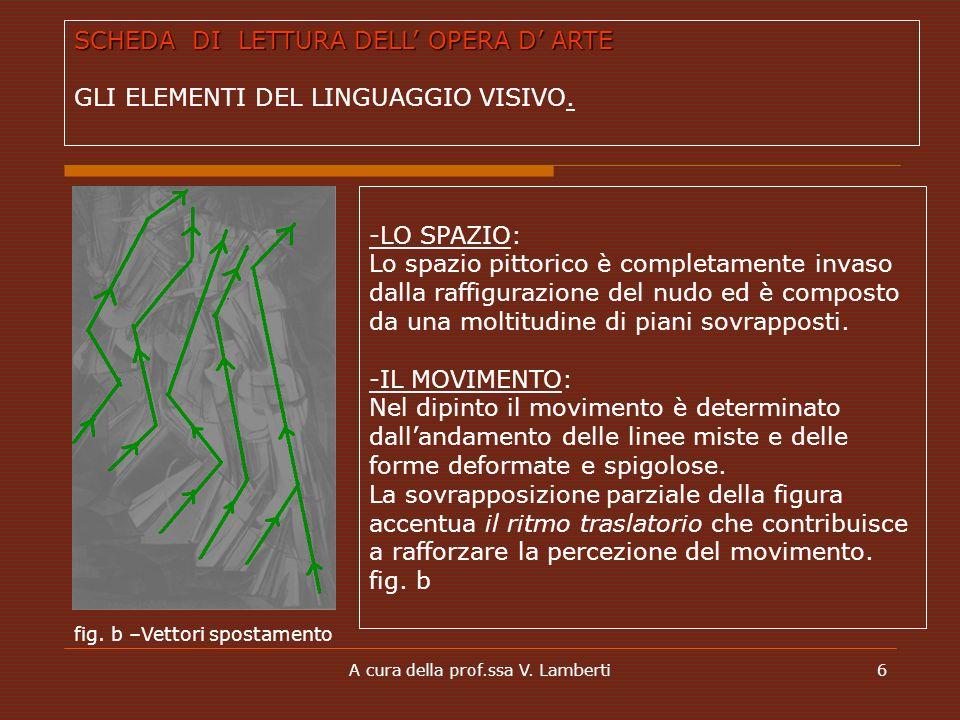 A cura della prof.ssa V. Lamberti6 -LO SPAZIO: Lo spazio pittorico è completamente invaso dalla raffigurazione del nudo ed è composto da una moltitudi