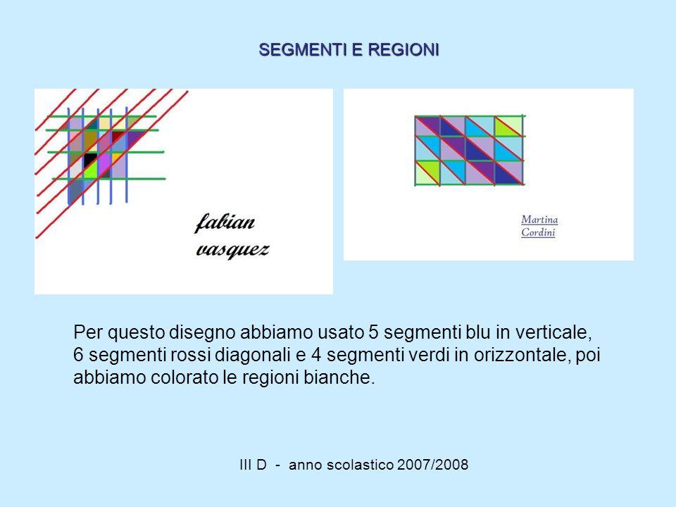III D - anno scolastico 2007/2008 Per questo disegno abbiamo usato 5 segmenti blu in verticale, 6 segmenti rossi diagonali e 4 segmenti verdi in orizz