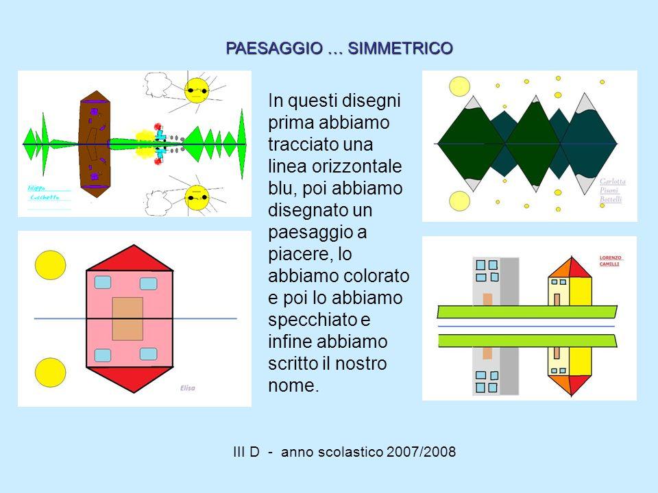 III D - anno scolastico 2007/2008 In questi disegni prima abbiamo tracciato una linea orizzontale blu, poi abbiamo disegnato un paesaggio a piacere, l