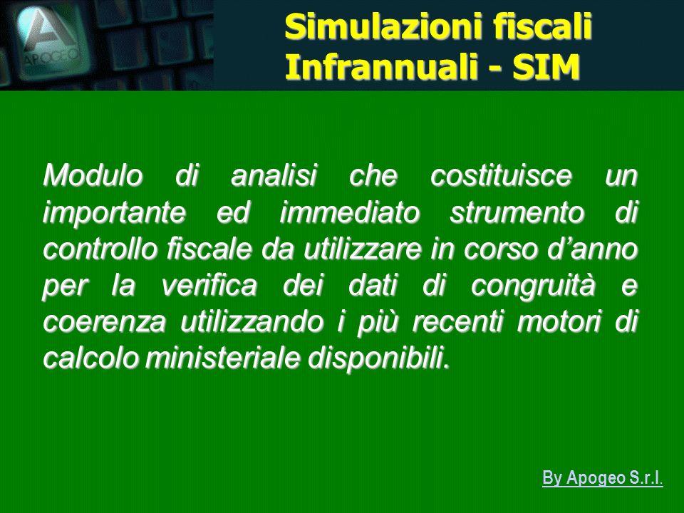 By Apogeo S.r.l. Simulazioni fiscali Infrannuali - SIM Modulo di analisi che costituisce un importante ed immediato strumento di controllo fiscale da