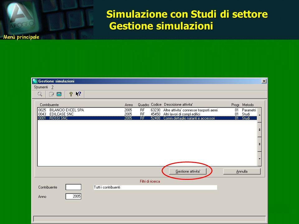 Simulazione con Studi di settore Gestione simulazioni Gestione simulazioni