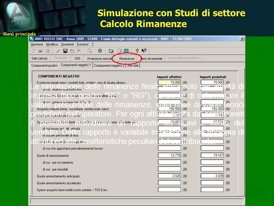 La simulazione delle rimanenze finali, attiva solo per attività di impresa (tipo quadro