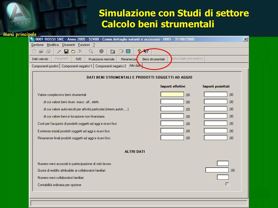 Gestione che consente di pervenire alla determinazione del totale valore beni strumentali da utilizzare ai fini della metodologia di calcolo applicabile.