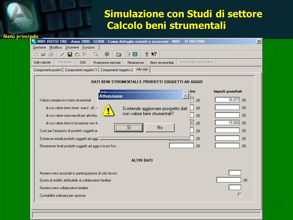 Simulazione con Studi di settore Calcolo beni strumentali Calcolo beni strumentali