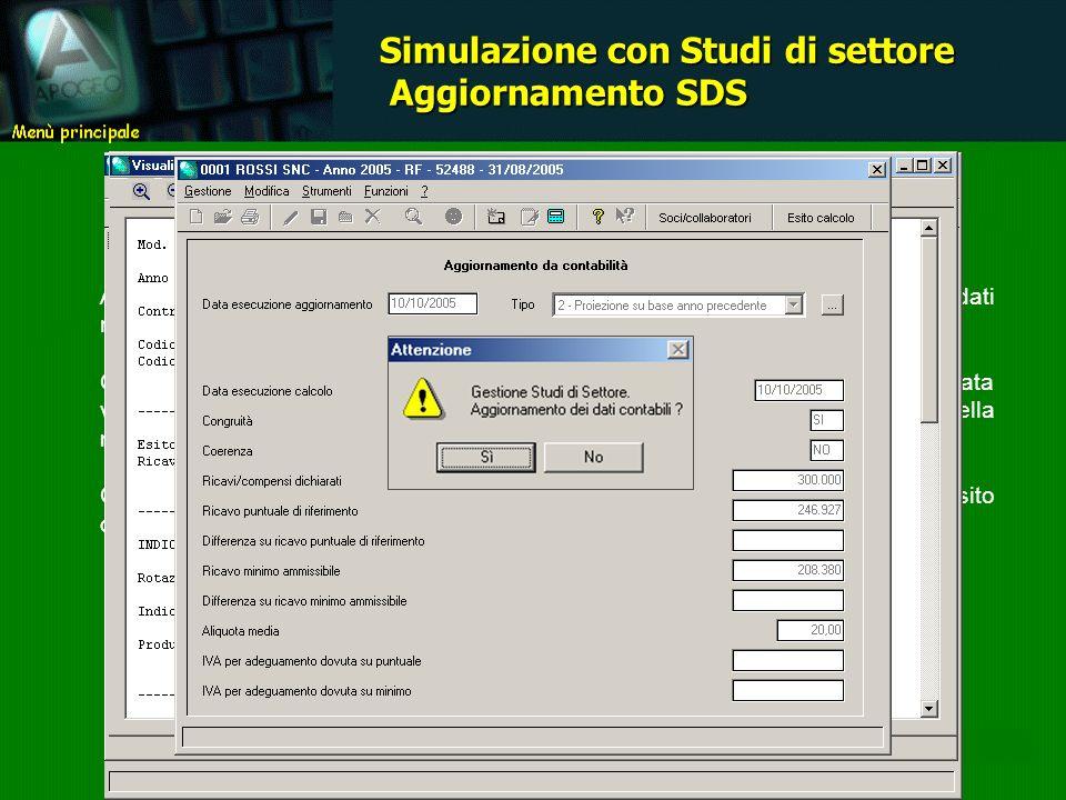 Ad ogni simulazione è associata una pagina contenente il riepilogo dei principali dati riferiti al calcolo eseguito ai fini della metodologia di controllo applicabile.