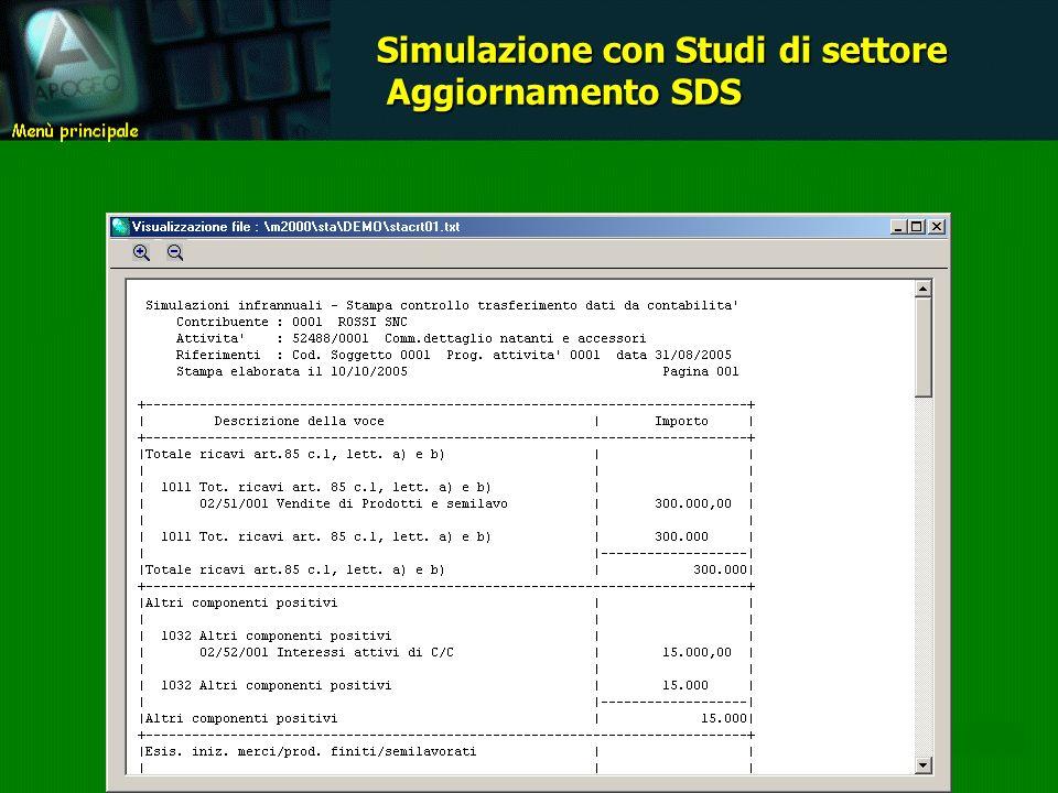 Simulazione con Studi di settore Aggiornamento SDS Aggiornamento SDS