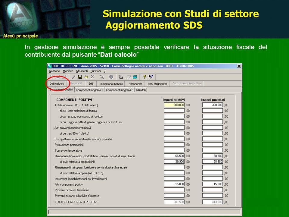 In gestione simulazione è sempre possibile verificare la situazione fiscale del contribuente dal pulsante Dati calcolo Simulazione con Studi di settore Aggiornamento SDS Aggiornamento SDS