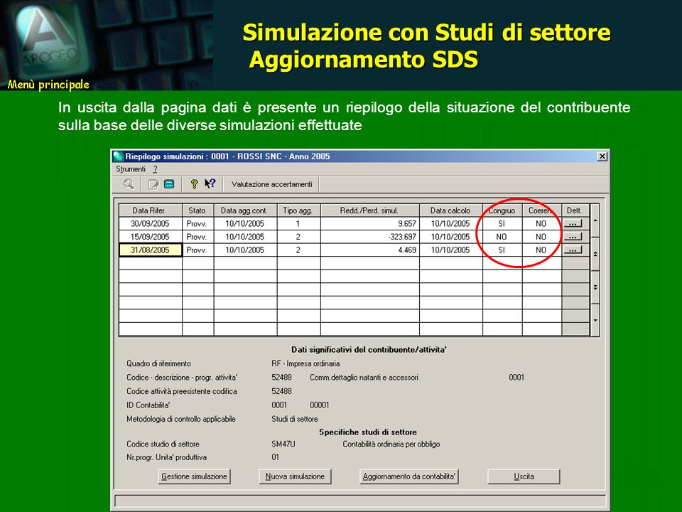 In uscita dalla pagina dati è presente un riepilogo della situazione del contribuente sulla base delle diverse simulazioni effettuate Simulazione con Studi di settore Aggiornamento SDS Aggiornamento SDS