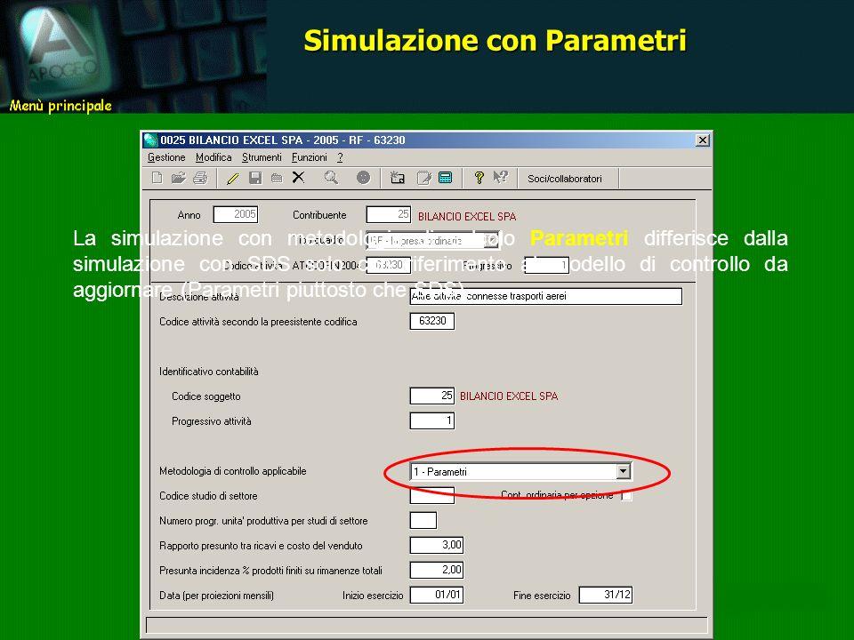 La simulazione con metodologia di calcolo Parametri differisce dalla simulazione con SDS solo con riferimento al modello di controllo da aggiornare (Parametri piuttosto che SDS).