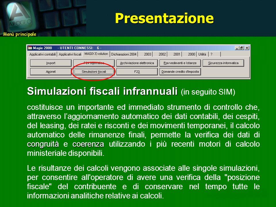 Simulazioni fiscali infrannuali Simulazioni fiscali infrannuali (in seguito SIM) congruitàcoerenza costituisce un importante ed immediato strumento di