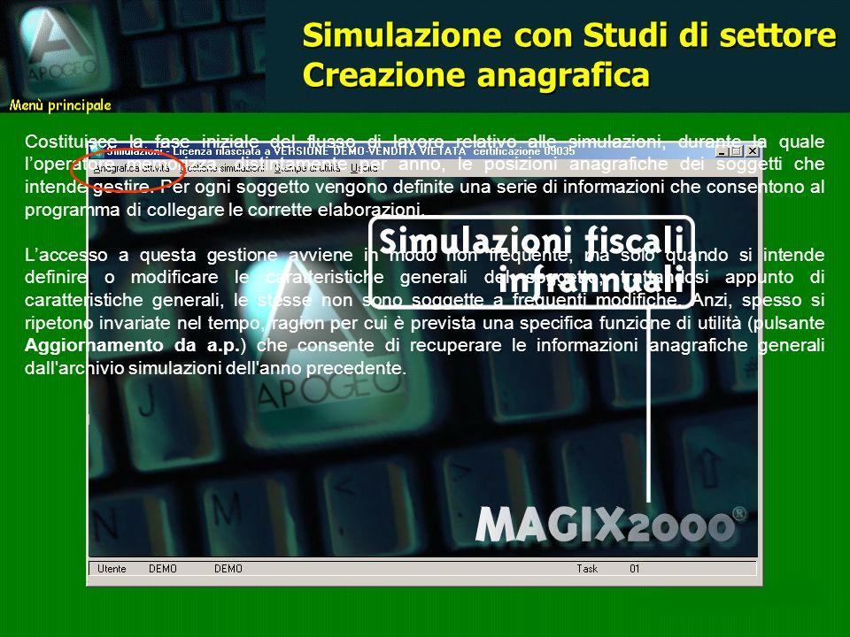 Simulazione con Studi di settore Creazione anagrafica Costituisce la fase iniziale del flusso di lavoro relativo alle simulazioni, durante la quale lo