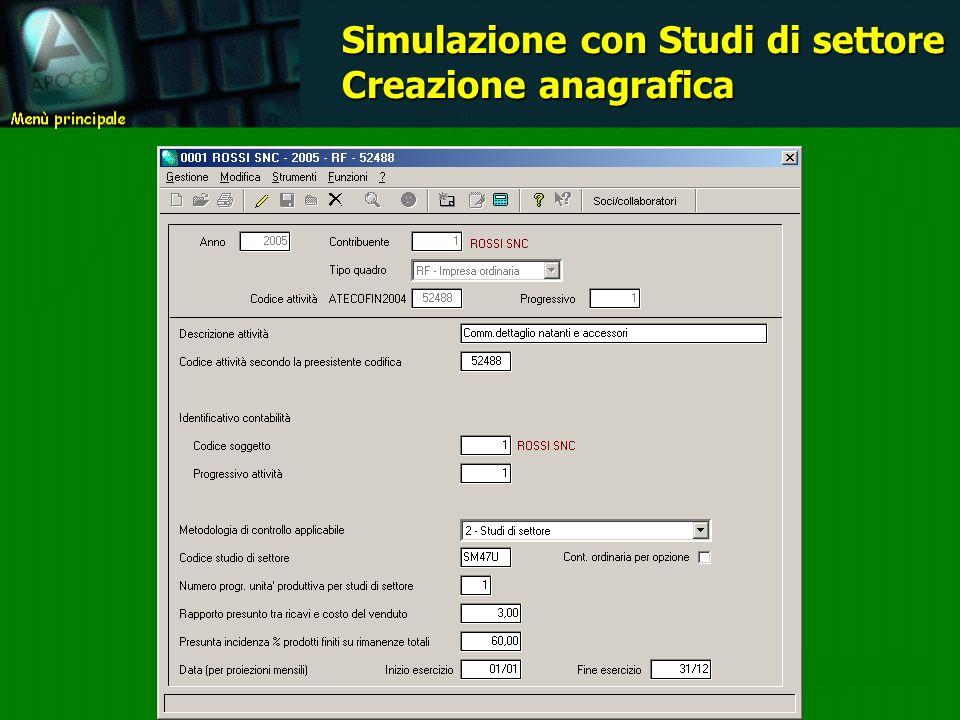 Simulazione con Studi di settore Creazione anagrafica