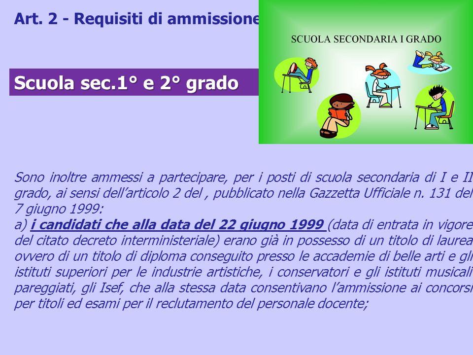 Sono inoltre ammessi a partecipare, per i posti di scuola secondaria di I e II grado, ai sensi dellarticolo 2 del, pubblicato nella Gazzetta Ufficiale