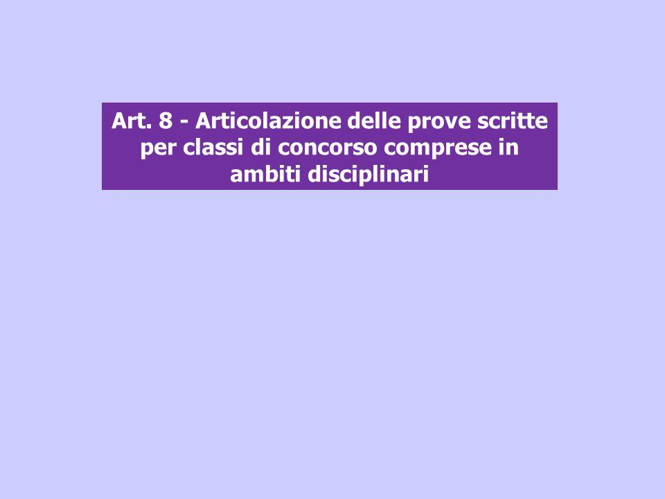 Art. 8 - Articolazione delle prove scritte per classi di concorso comprese in ambiti disciplinari