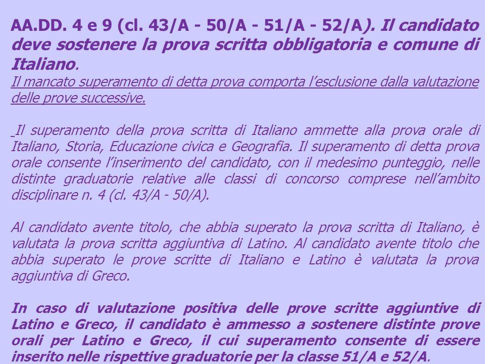 AA.DD. 4 e 9 (cl. 43/A - 50/A - 51/A - 52/A). Il candidato deve sostenere la prova scritta obbligatoria e comune di Italiano. Il mancato superamento d