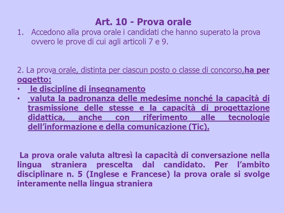 Art. 10 - Prova orale 1.Accedono alla prova orale i candidati che hanno superato la prova ovvero le prove di cui agli articoli 7 e 9. 2. La prova oral