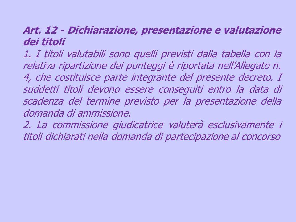 Art. 12 - Dichiarazione, presentazione e valutazione dei titoli 1. I titoli valutabili sono quelli previsti dalla tabella con la relativa ripartizione