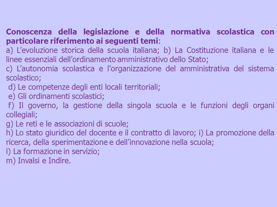 Conoscenza della legislazione e della normativa scolastica con particolare riferimento ai seguenti temi: a) Levoluzione storica della scuola italiana;