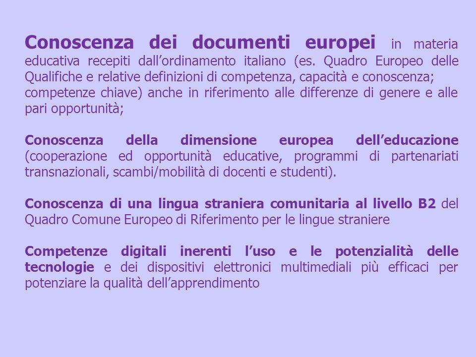 Conoscenza dei documenti europei in materia educativa recepiti dallordinamento italiano (es. Quadro Europeo delle Qualifiche e relative definizioni di
