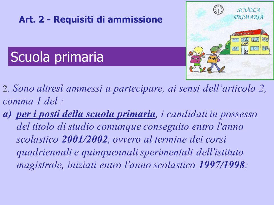 2. Sono altresì ammessi a partecipare, ai sensi dellarticolo 2, comma 1 del : a)per i posti della scuola primaria, i candidati in possesso del titolo