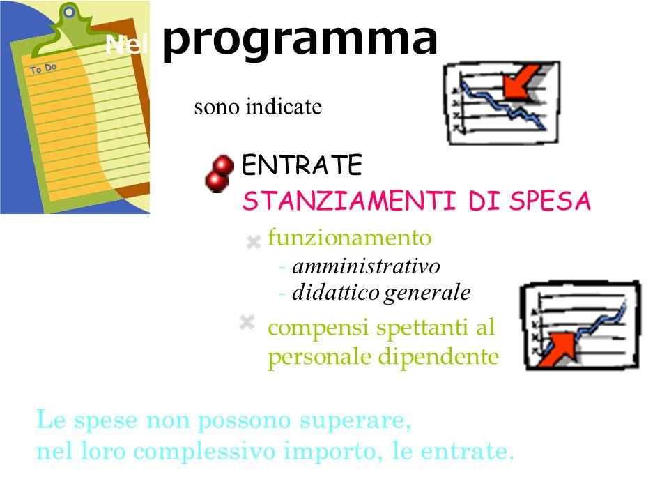 Nel programma sono indicate ENTRATE STANZIAMENTI DI SPESA funzionamento compensi spettanti al personale dipendente Le spese non possono superare, nel
