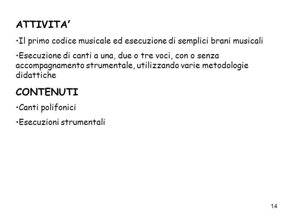 14 ATTIVITA Il primo codice musicale ed esecuzione di semplici brani musicali Esecuzione di canti a una, due o tre voci, con o senza accompagnamento s