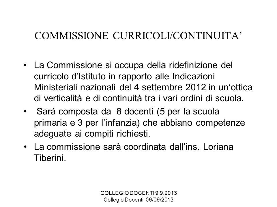 COMMISSIONE CURRICOLI/CONTINUITA La Commissione si occupa della ridefinizione del curricolo dIstituto in rapporto alle Indicazioni Ministeriali nazion