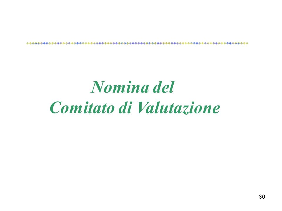 30 Nomina del Comitato di Valutazione