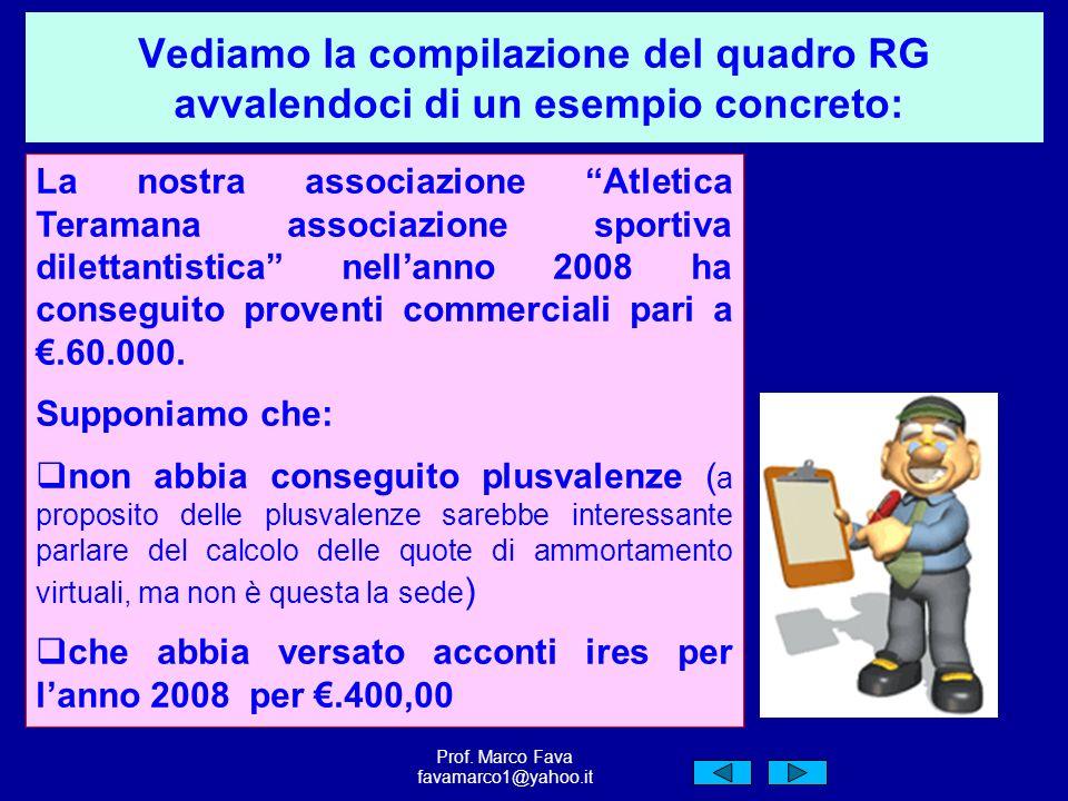Vediamo la compilazione del quadro RG avvalendoci di un esempio concreto: La nostra associazione Atletica Teramana associazione sportiva dilettantistica nellanno 2008 ha conseguito proventi commerciali pari a.60.000.