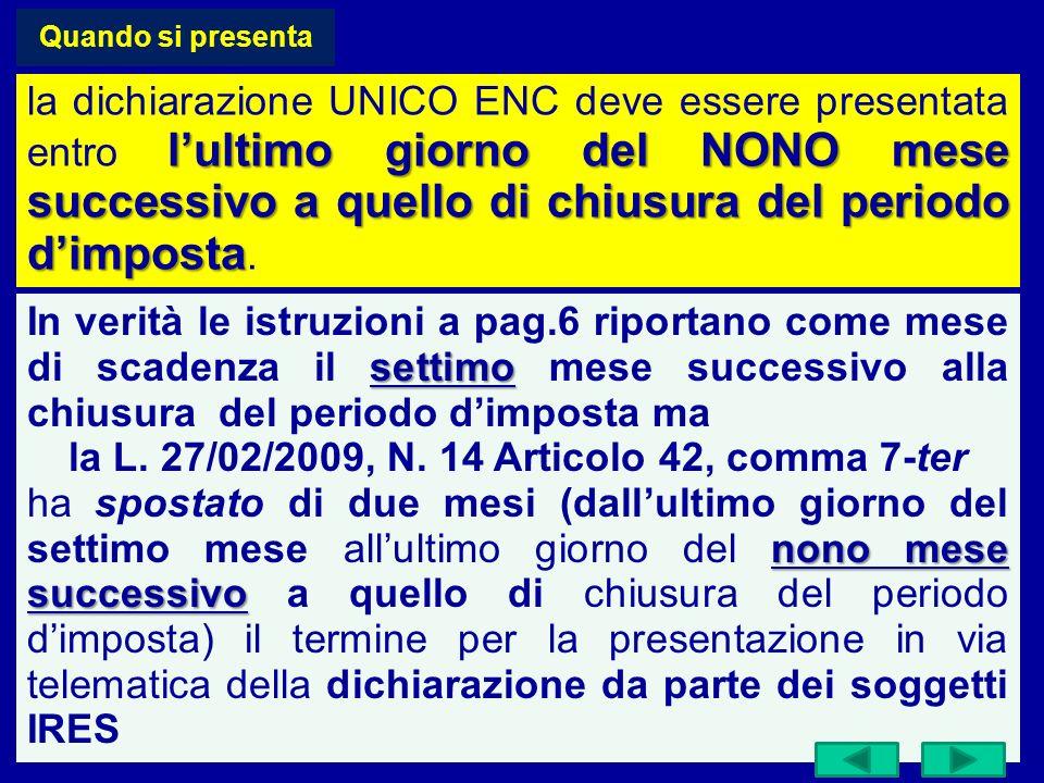 Quando si presenta lultimo giorno del NONO mese successivo a quello di chiusura del periodo dimposta la dichiarazione UNICO ENC deve essere presentata entro lultimo giorno del NONO mese successivo a quello di chiusura del periodo dimposta.
