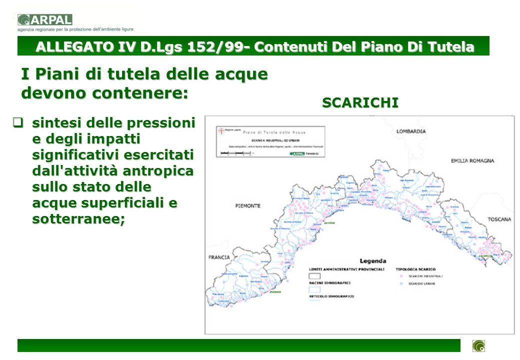 stima dell inquinamento in termini di carico (sia in tonnellate/anno che in tonnellate/mese) da fonte puntuale (sulla base del catasto degli scarichi); stima dell inquinamento in termini di carico (sia in tonnellate/anno che in tonnellate/mese) da fonte puntuale (sulla base del catasto degli scarichi); INQUINAMENTO/IMPATTO ALLEGATO IV D.Lgs 152/99- Contenuti Del Piano Di Tutela I Piani di tutela delle acque devono contenere: