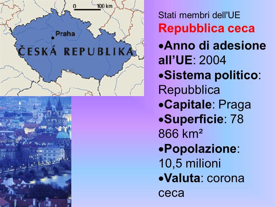 Stati membri dell UE Repubblica ceca Anno di adesione allUE: 2004 Sistema politico: Repubblica Capitale: Praga Superficie: 78 866 km² Popolazione: 10,5 milioni Valuta: corona ceca