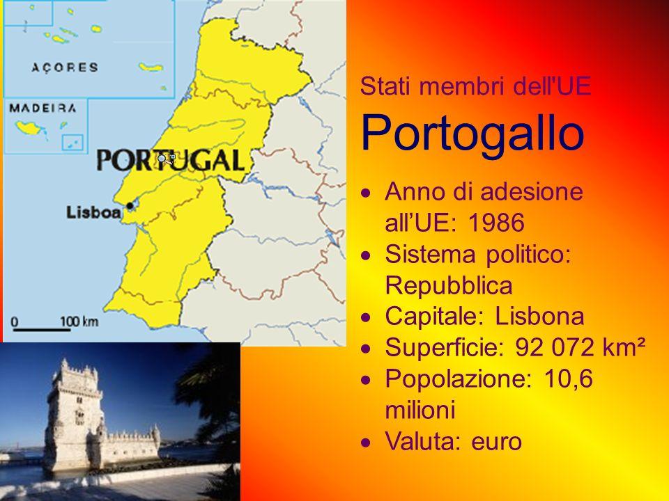 Stati membri dell UE Portogallo Anno di adesione allUE: 1986 Sistema politico: Repubblica Capitale: Lisbona Superficie: 92 072 km² Popolazione: 10,6 milioni Valuta: euro
