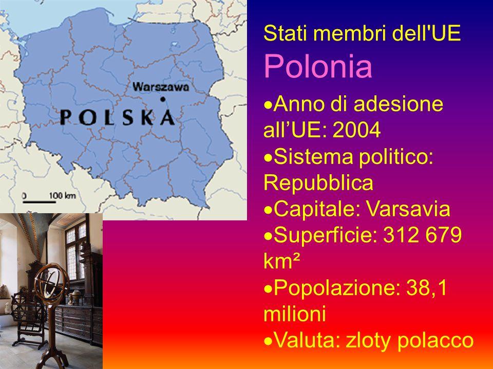 Stati membri dell UE Polonia Anno di adesione allUE: 2004 Sistema politico: Repubblica Capitale: Varsavia Superficie: 312 679 km² Popolazione: 38,1 milioni Valuta: zloty polacco