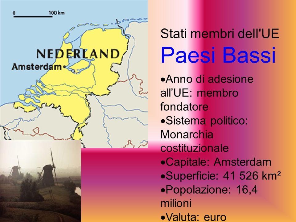 Stati membri dell UE Paesi Bassi Anno di adesione allUE: membro fondatore Sistema politico: Monarchia costituzionale Capitale: Amsterdam Superficie: 41 526 km² Popolazione: 16,4 milioni Valuta: euro