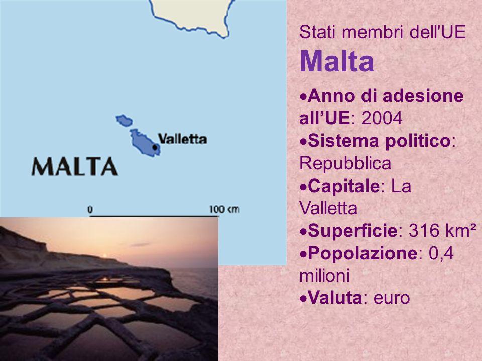 Stati membri dell UE Malta Anno di adesione allUE: 2004 Sistema politico: Repubblica Capitale: La Valletta Superficie: 316 km² Popolazione: 0,4 milioni Valuta: euro