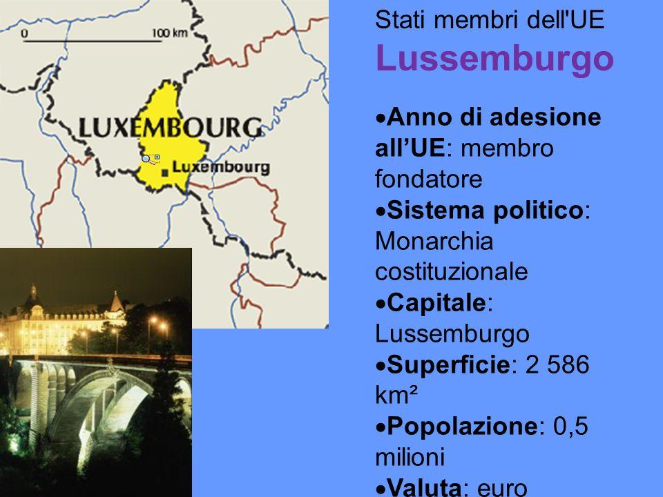 Stati membri dell UE Lussemburgo Anno di adesione allUE: membro fondatore Sistema politico: Monarchia costituzionale Capitale: Lussemburgo Superficie: 2 586 km² Popolazione: 0,5 milioni Valuta: euro