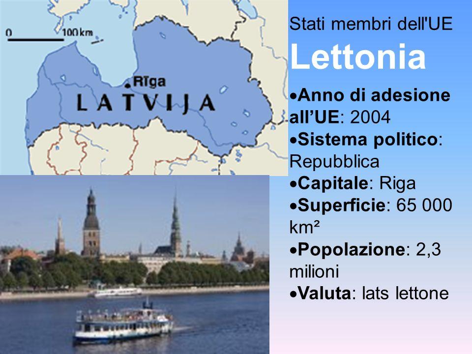 Stati membri dell UE Lettonia Anno di adesione allUE: 2004 Sistema politico: Repubblica Capitale: Riga Superficie: 65 000 km² Popolazione: 2,3 milioni Valuta: lats lettone