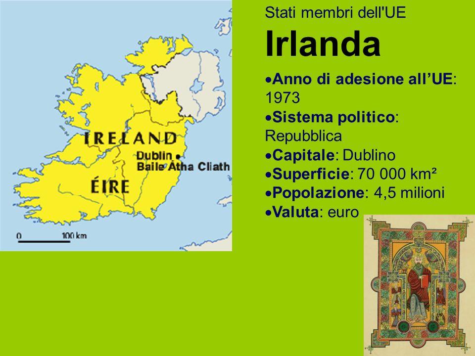 Stati membri dell UE Irlanda Anno di adesione allUE: 1973 Sistema politico: Repubblica Capitale: Dublino Superficie: 70 000 km² Popolazione: 4,5 milioni Valuta: euro