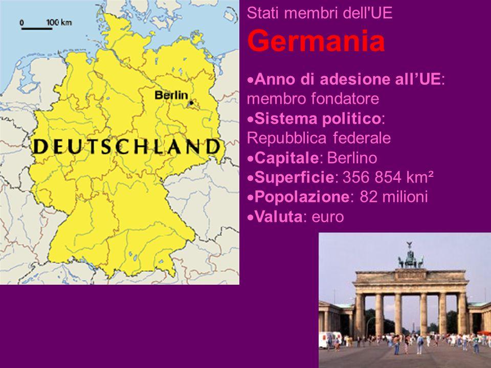Stati membri dell UE Germania Anno di adesione allUE: membro fondatore Sistema politico: Repubblica federale Capitale: Berlino Superficie: 356 854 km² Popolazione: 82 milioni Valuta: euro