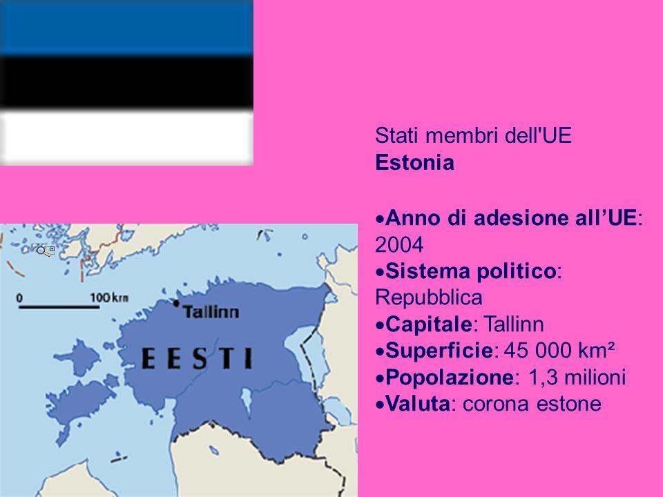 Stati membri dell UE Estonia Anno di adesione allUE: 2004 Sistema politico: Repubblica Capitale: Tallinn Superficie: 45 000 km² Popolazione: 1,3 milioni Valuta: corona estone