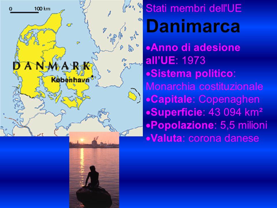 Stati membri dell UE Danimarca Anno di adesione allUE: 1973 Sistema politico: Monarchia costituzionale Capitale: Copenaghen Superficie: 43 094 km² Popolazione: 5,5 milioni Valuta: corona danese