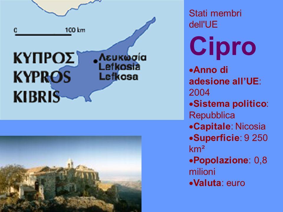 Stati membri dell UE Cipro Anno di adesione allUE: 2004 Sistema politico: Repubblica Capitale: Nicosia Superficie: 9 250 km² Popolazione: 0,8 milioni Valuta: euro