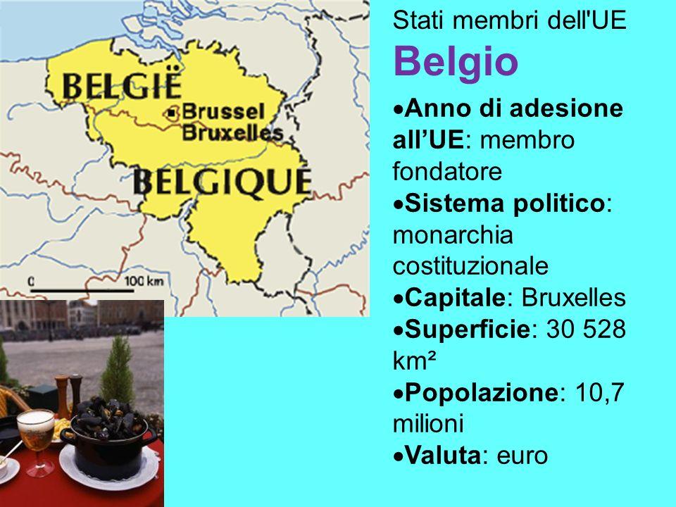 Stati membri dell UE Belgio Anno di adesione allUE: membro fondatore Sistema politico: monarchia costituzionale Capitale: Bruxelles Superficie: 30 528 km² Popolazione: 10,7 milioni Valuta: euro