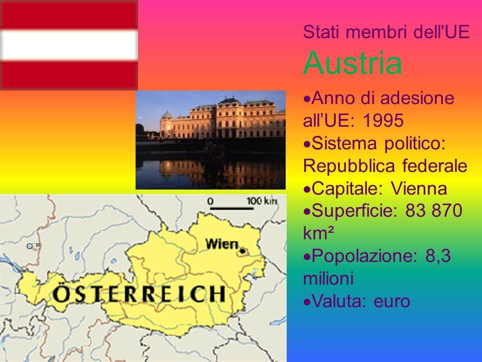 Stati membri dell UE Austria Anno di adesione allUE: 1995 Sistema politico: Repubblica federale Capitale: Vienna Superficie: 83 870 km² Popolazione: 8,3 milioni Valuta: euro