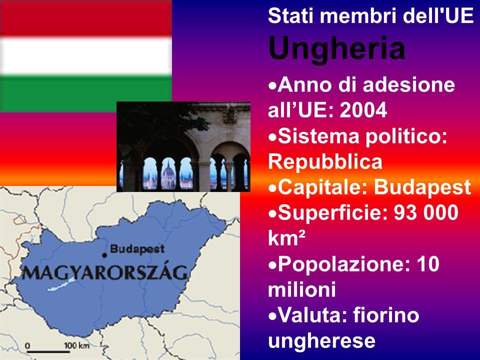 Stati membri dell UE Ungheria Anno di adesione allUE: 2004 Sistema politico: Repubblica Capitale: Budapest Superficie: 93 000 km² Popolazione: 10 milioni Valuta: fiorino ungherese